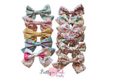 Floral Fabric TAIL Bow