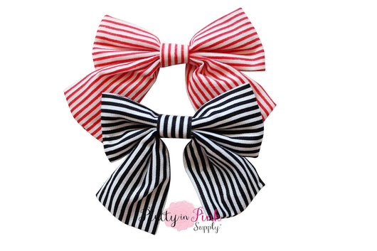 Stripe Fabric TAIL Bow - Pretty in Pink Supply