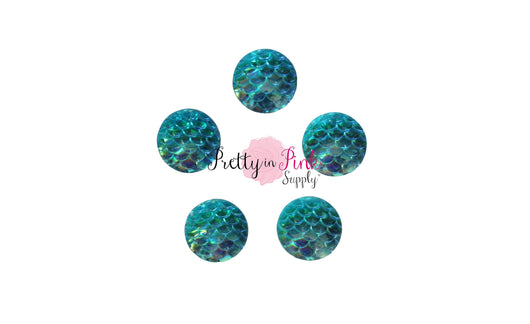 Aqua Mermaid Flat Back Resin Cabochons