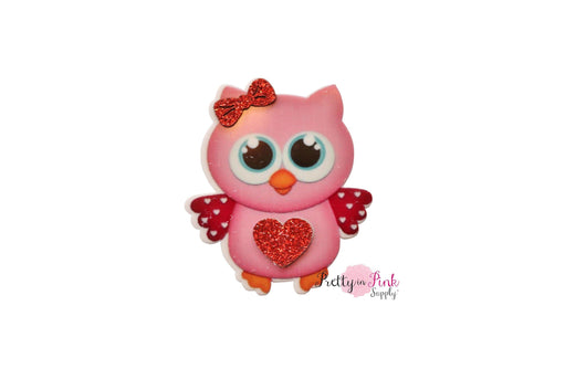 PINK Love Owl Flat-back Resin