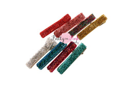 TINSEL Glitter Lined Double Prong Hair Clips