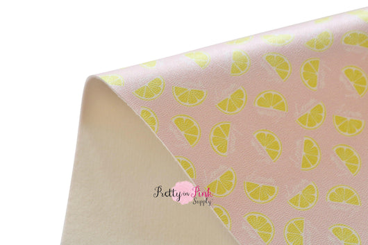 Sour Lemon Slice Soft Faux Leather Fabric Sheet - Pretty in Pink Supply