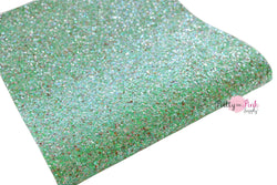 Mint Multi Colored Chunky Glitter Fabric Sheet