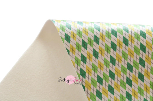 Green/Yellow Argyle Soft Faux Leather Fabric Sheet