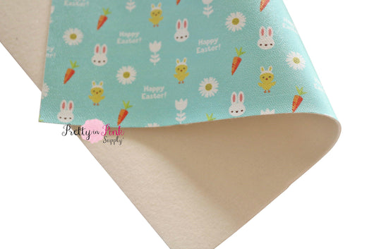 Happy Easter Soft Faux Leather Fabric Sheet