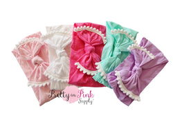 Nylon POM POM Head Wraps