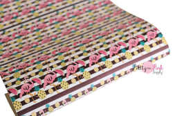 Black White Stripe FLAMINGO Canvas Sheet