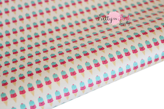 Ice Cream Cone Soft Faux Leather Fabric Sheet
