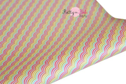 Rainbow Wave Soft Faux Leather Fabric Sheet