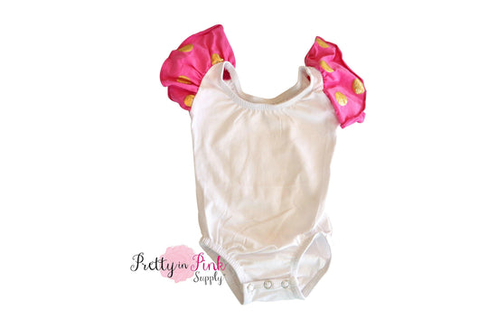 Short Sleeve Ballerina Leotard- HOT PINK/GOLD DOT SLEEVE