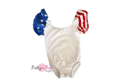 Short Sleeve Ballerina Leotard- STARS/STRIPES SLEEVES