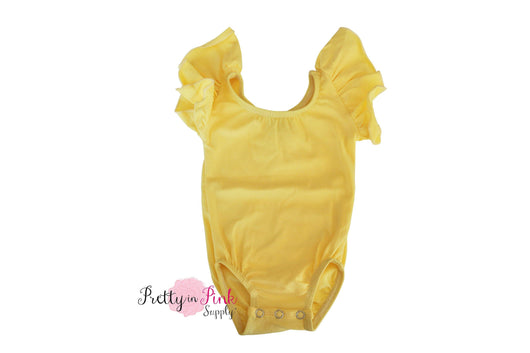 Short Sleeve Ballerina Leotard- LIGHT YELLOW - Pretty in Pink Supply