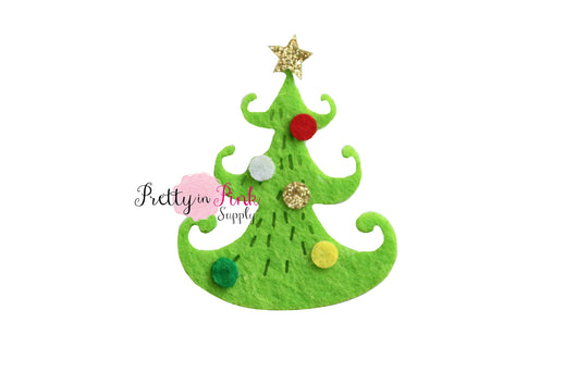 Decorated Green Felt Christmas Tree