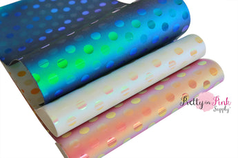 FAUX LEATHER Holographic Dot Sheets - Pretty in Pink Supply