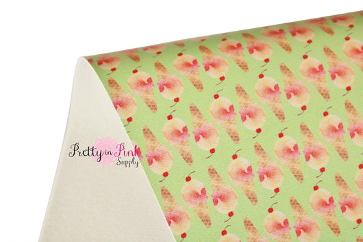 Green/Peach Ice Cream Cone Soft Faux Leather Fabric Sheet