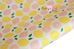 Lemons and Grapefruit Soft Faux Leather Fabric Sheet