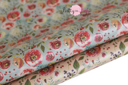 Rustic Floral Soft Faux Leather Fabric Sheet