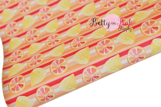 Grapefruit Stripe Soft Faux Leather Fabric Sheet