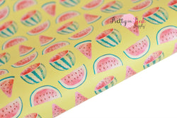 Yellow Watermelon Soft Faux Leather Fabric Sheet