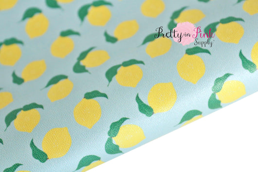BLUE Lemon Drop Soft Faux Leather Fabric Sheet