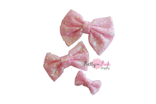 IRIDESCENT Baby Pink Sequin Bow
