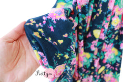 Navy/Pink Flower Jersey Stretch Fabric 36