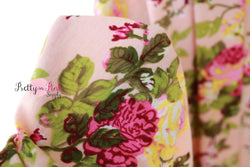 Pale Peach Flower Jersey Stretch Fabric 36