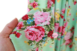 Mint Vintage Floral Jersey Stretch Fabric 36