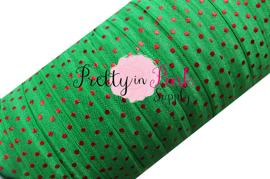 Green with Red Metallic Dot Elastic