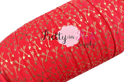 Red with Gold Metallic Arrows Print Elastic