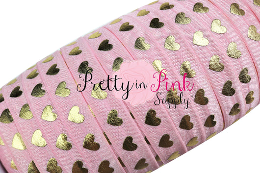 New Light Pink with Gold LARGE Heart Elastic