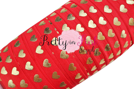 New Red with Gold LARGE Heart Elastic