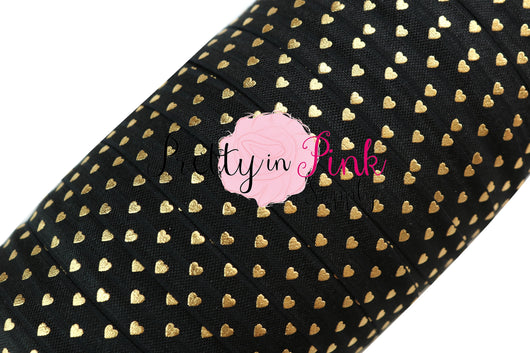 Black with Gold Tiny Heart Elastic