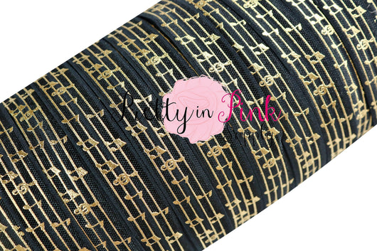 Black Gold Music Note Metallic Print Elastic