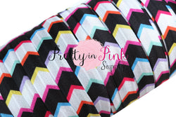 Black/White/RAINBOW Wide Chevron Elastic