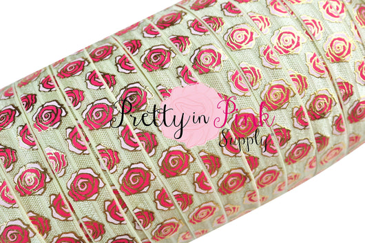 New Ivory Metallic ROSE Print Elastic