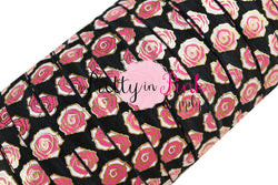New Black Metallic ROSE Print Elastic