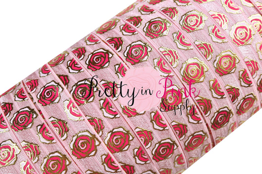 New Light Pink Metallic ROSE Print Elastic