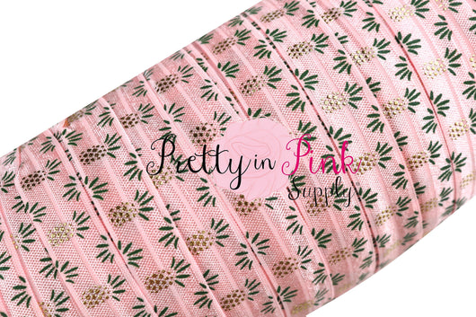 Light Pink/Gold/GREEN Metallic Pineapple Print Elastic - Pretty in Pink Supply