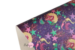 Under the Sea Mermaid Shimmer Glitter Sheet (PURPLE Background)