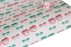 Heart Sunglasses Textured CANVAS Faux Leather Sheet