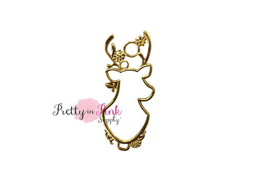 Gold Hollow Reindeer Charm