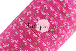 Hot Pink Gold/White Metallic Pineapple Print Elastic