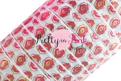 New White Metallic ROSE Print Elastic