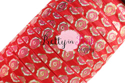New Red Metallic ROSE Print Elastic
