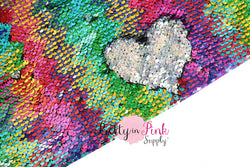 Full Yard of Rainbow/Silver Iridescent Reversible Sequin Fabric