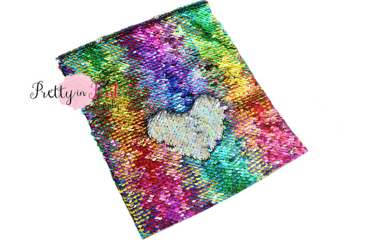 Rainbow/Iridescent Silver Changeable Sequin Fabric Sheet