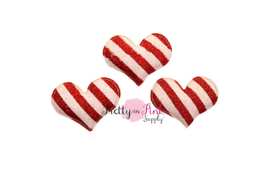Candy Cane Stripe Padded Glitter Hearts