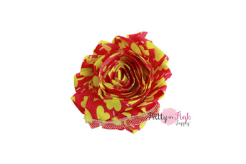 DESTASH Hot Pink/Neon Yellow Floral Shabby Rose Trim