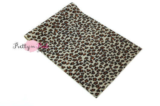 Beige Fur Leopard Fabric Sheet